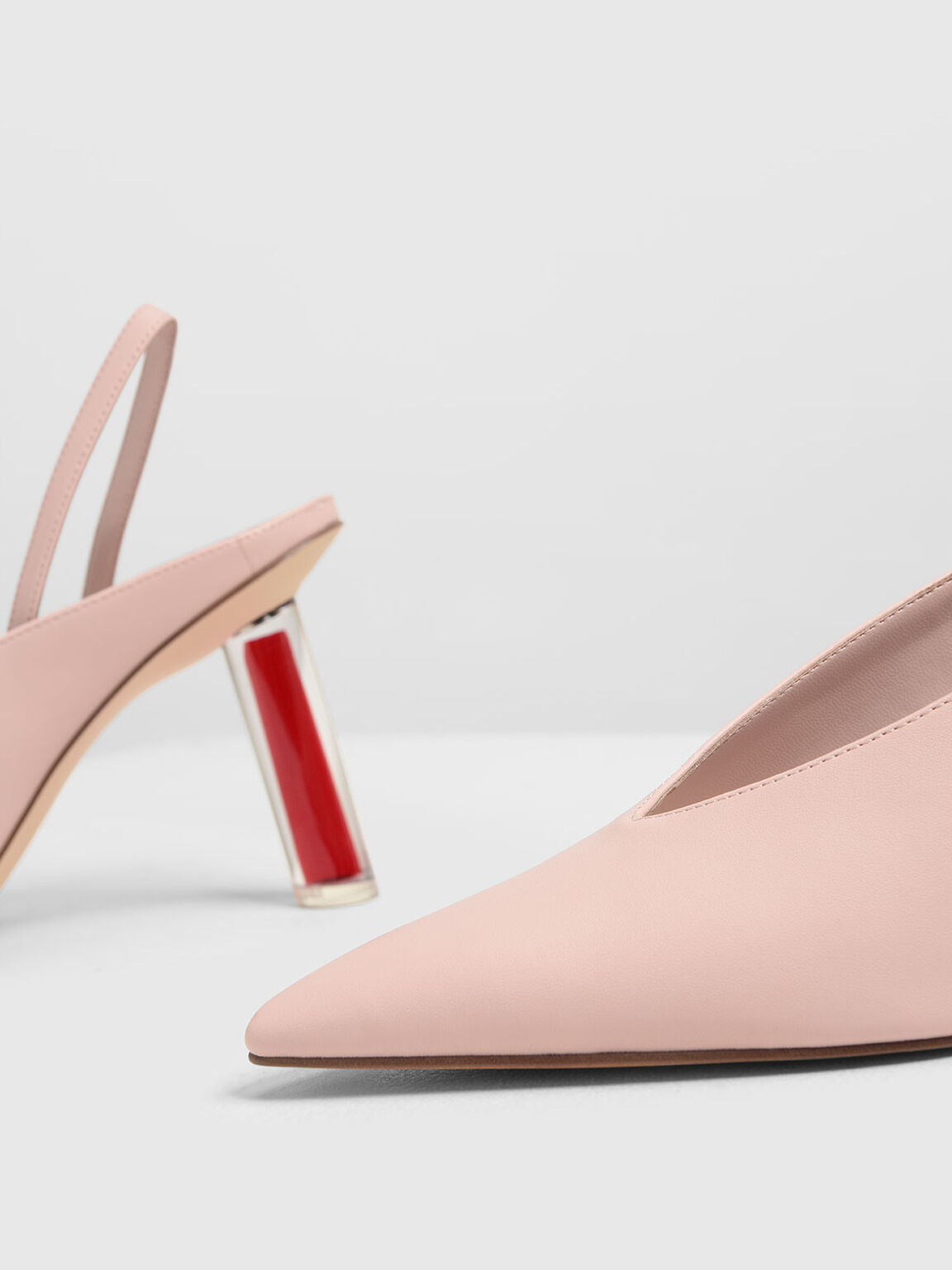V-Cut Sculptural Heel Slingbacks, Nude, hi-res