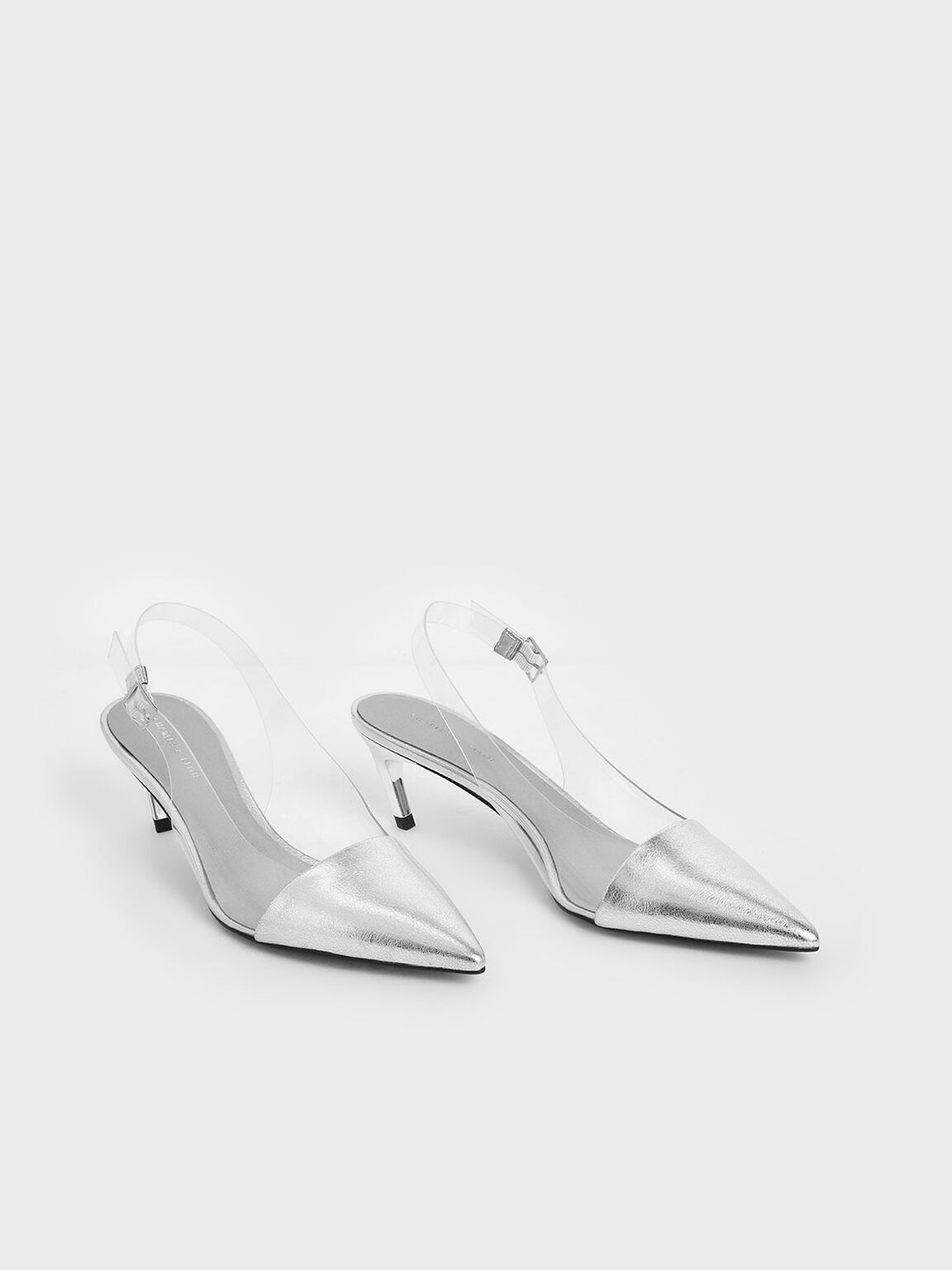 See-Through Effect Metallic Slingback Pumps, Silver, hi-res