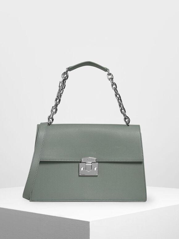 Chain Strap Classic Shoulder Bag, Moss, hi-res
