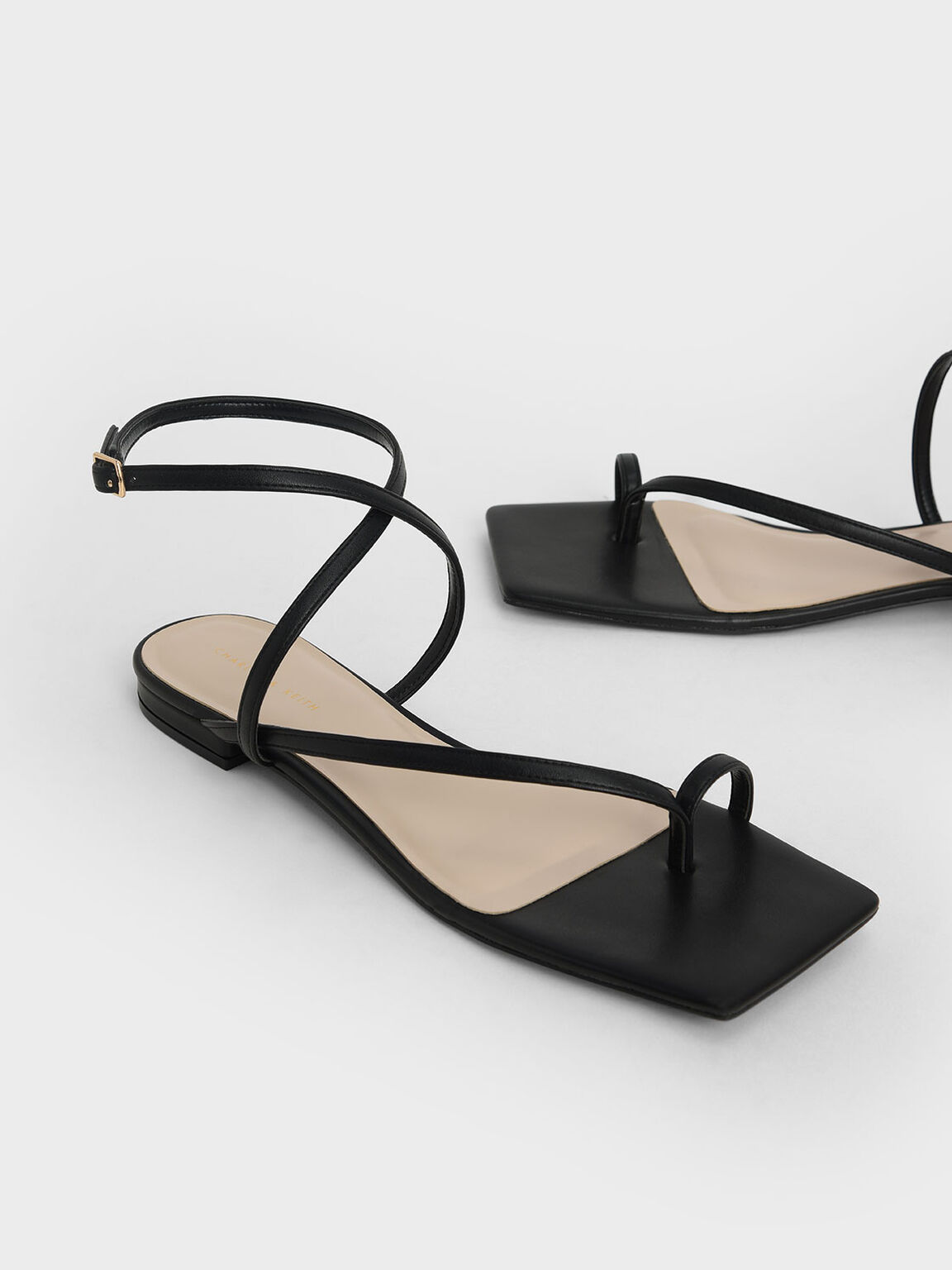 Strappy Toe-Ring Sandals, Black, hi-res