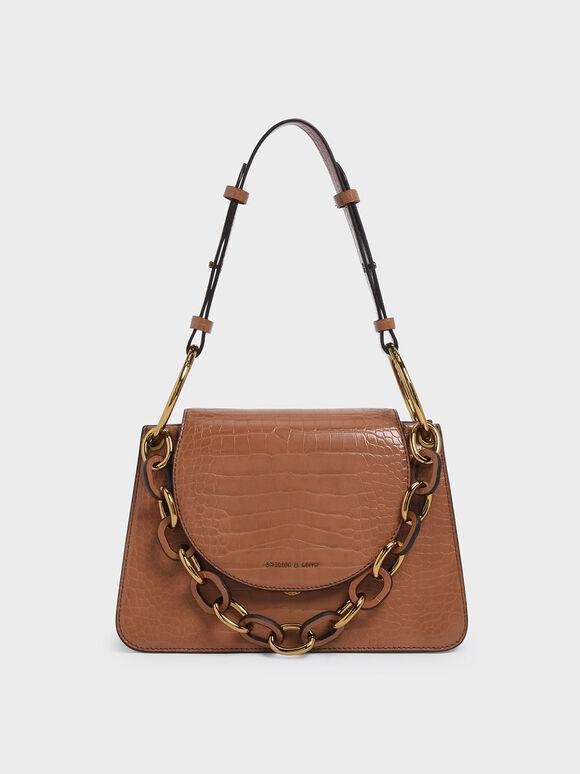 Croc-Effect Chunky Chain Link Shoulder Bag, Tan, hi-res