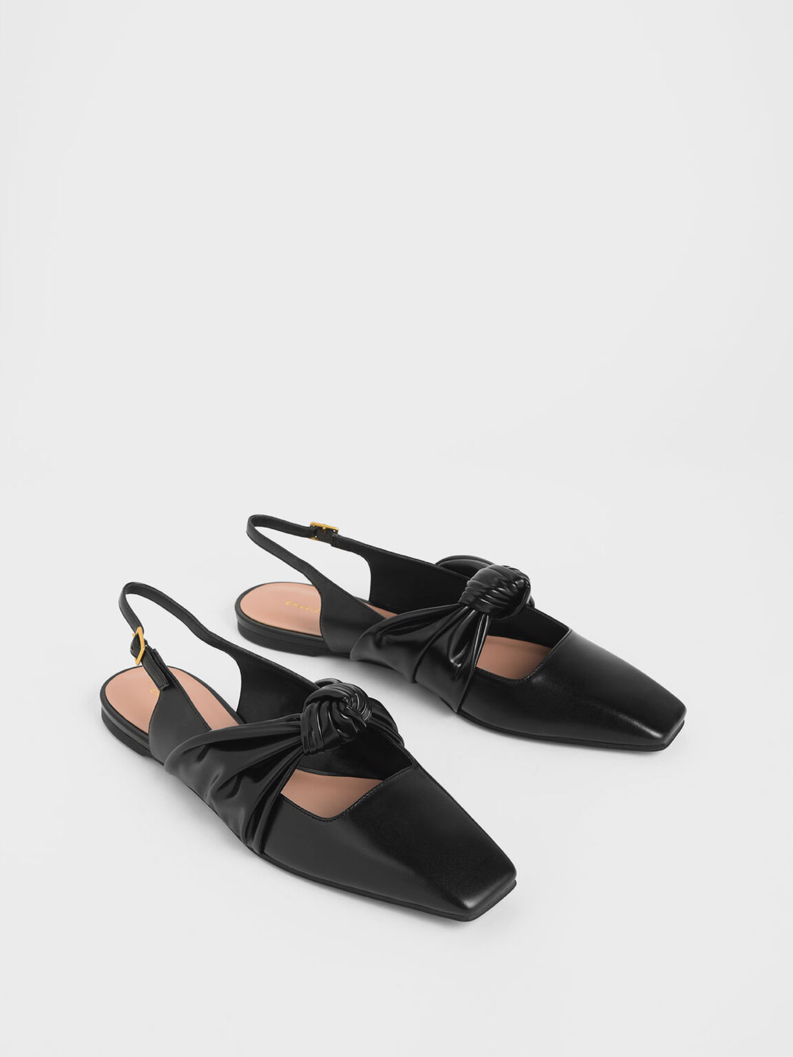 Knotted Mary Jane Strap Slingback Flats, Black, hi-res