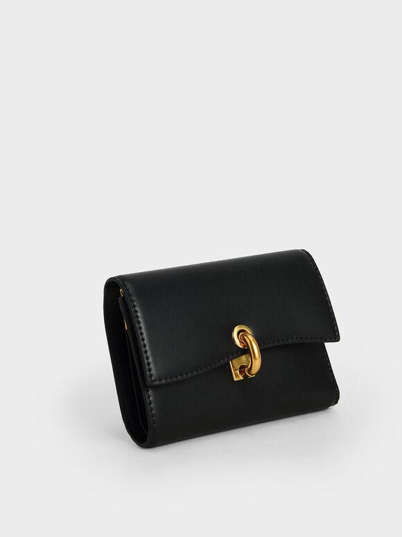 Turn-Lock Fold Wallet, Black, hi-res