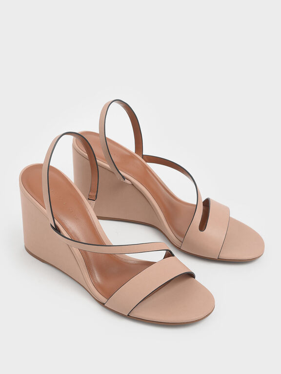 Asymmetric Strap Slingback Wedges, Nude