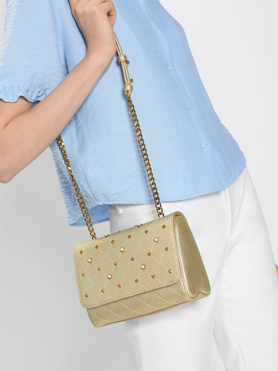 Embellished Quilted Crossbody Bag, Gold, hi-res
