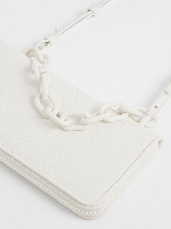 鍊條長夾, 白色, hi-res