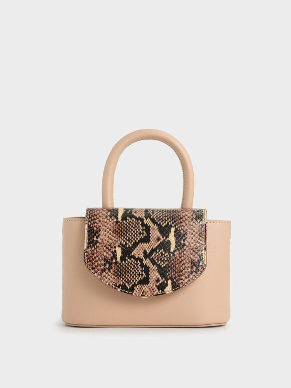 Snake Print Leather Cylinder Bag, Pink, hi-res