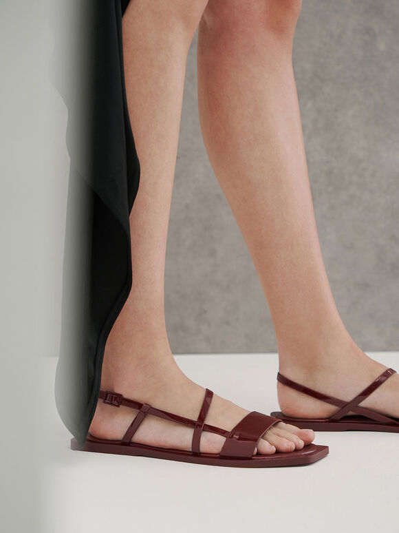 Patent Asymmetric Strap Slingback Sandals, Red, hi-res