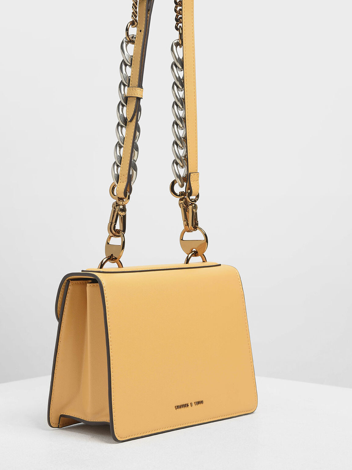 Metal Push Lock Front Flap Bag, Yellow, hi-res