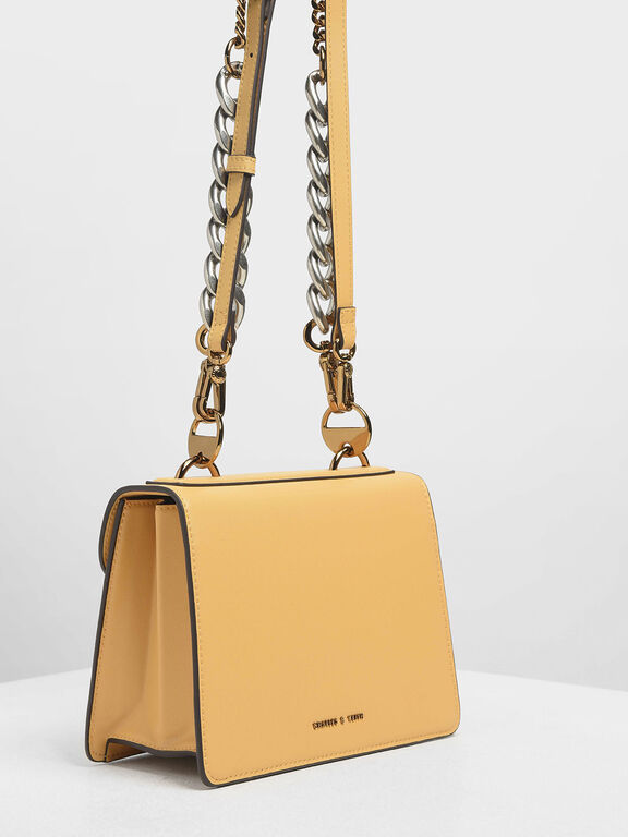 Metal Push Lock Front Flap Bag, Yellow