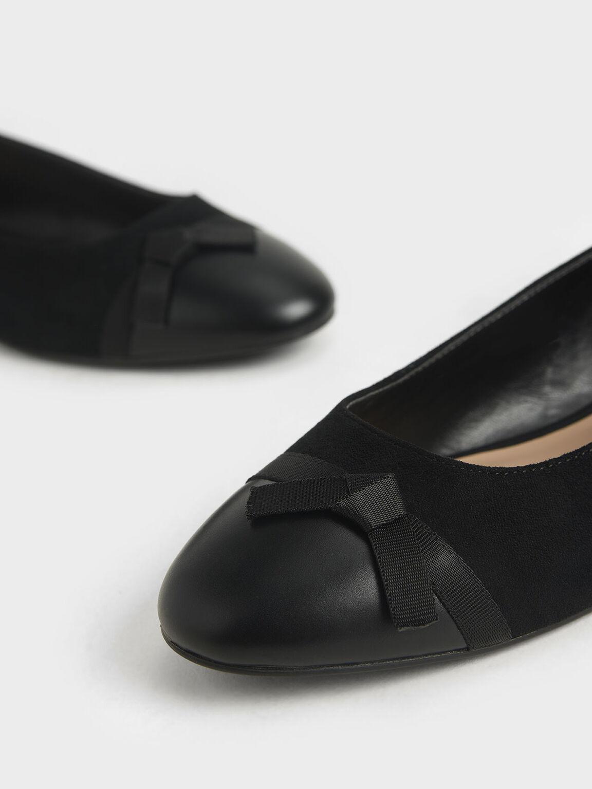 Textured Ribbon Tie Ballerina Flats, Black, hi-res