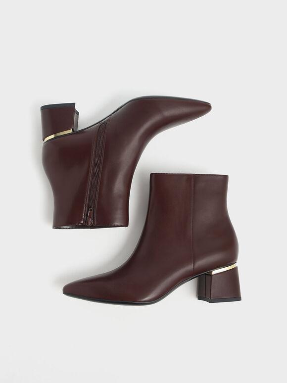 金屬點綴粗跟踝靴, 咖啡色, hi-res