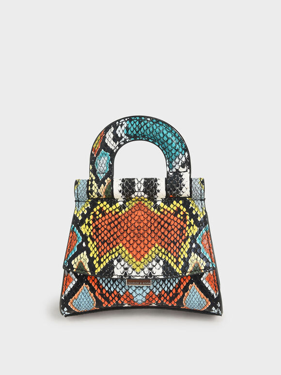 迷你蛇紋手提包, 混色, hi-res