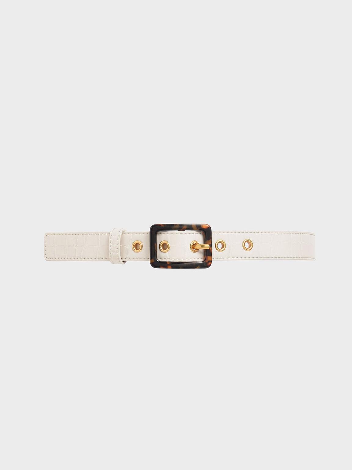 Croc-Effect Mid Waist Belt, Cream, hi-res