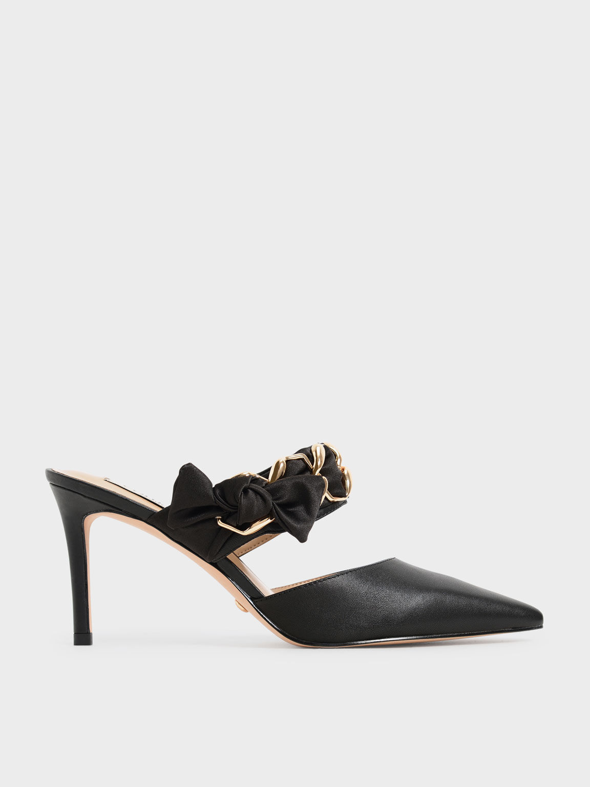 Satin Bow Leather Mules, Black, hi-res