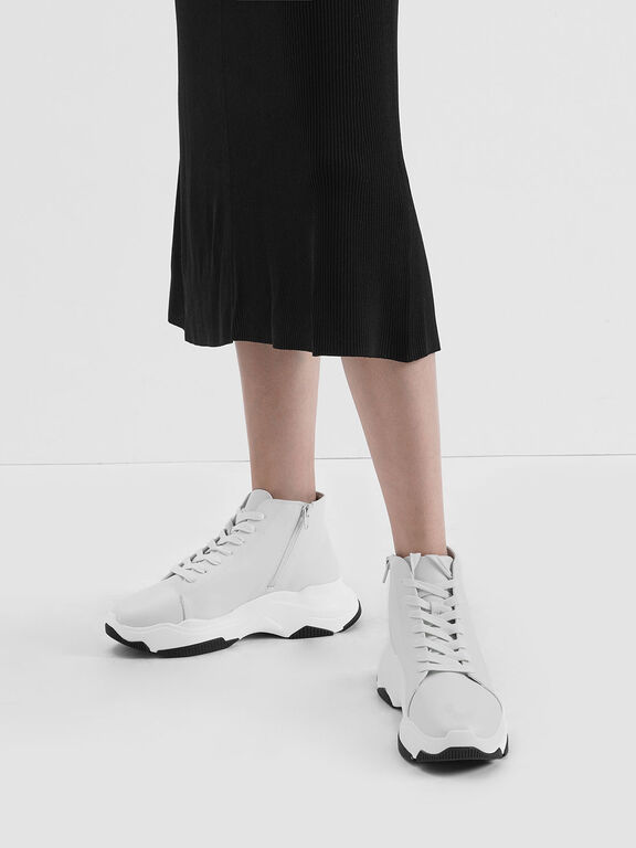 Lace-Up Chunky High Top Sneakers, White