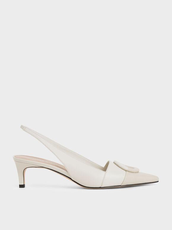 不對稱扣環尖頭鞋, 石灰白, hi-res