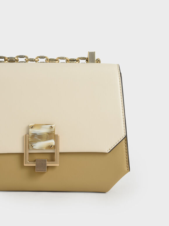 Chain Handle Geometric Crossbody Bag, Multi, hi-res
