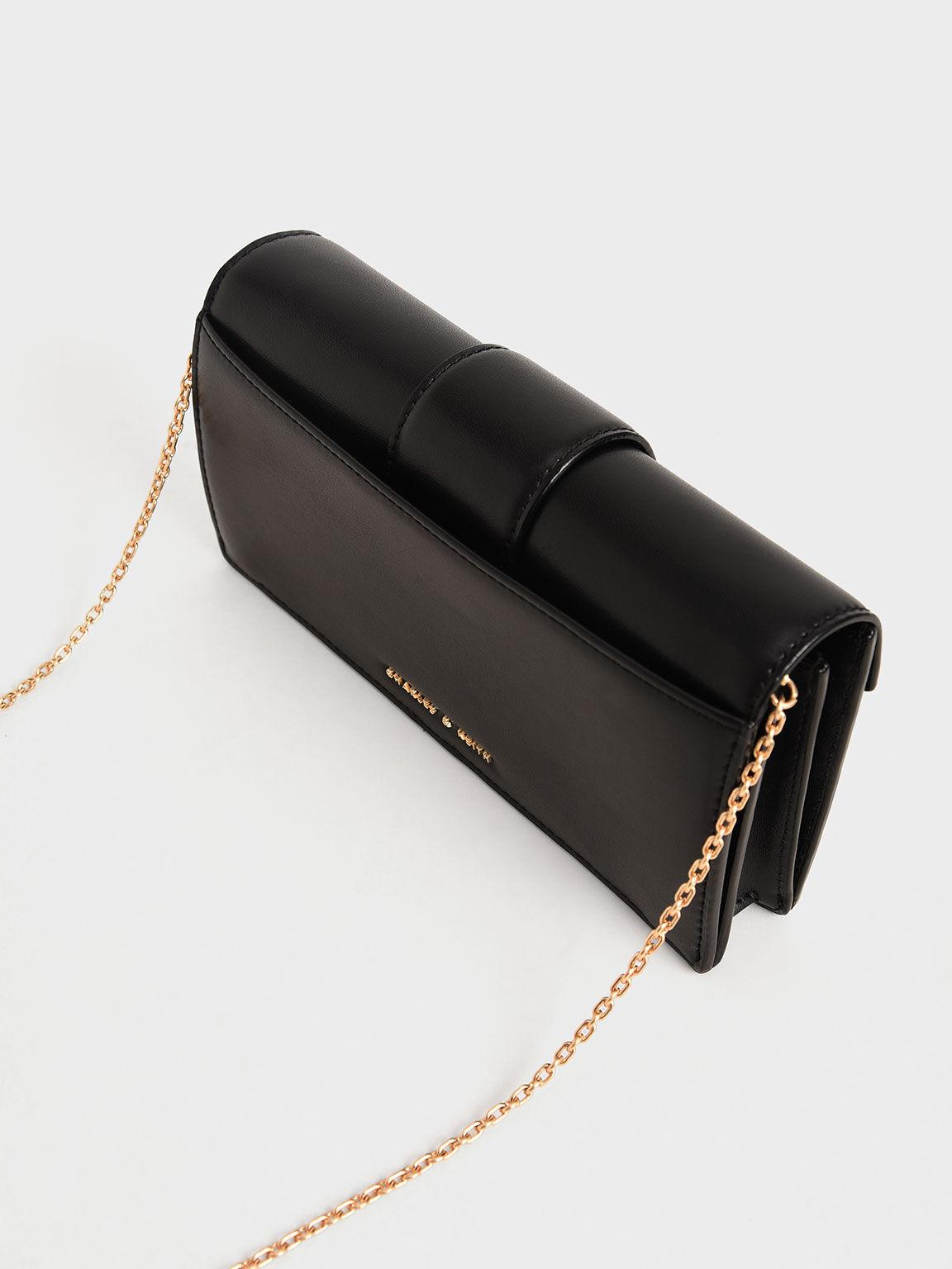 Metallic Buckle Mini Long Wallet, Black, hi-res