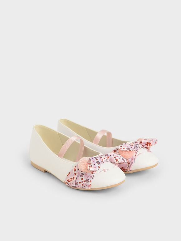 The Purpose Collection - Girls' Bandana Print Bow Ballerinas, White, hi-res