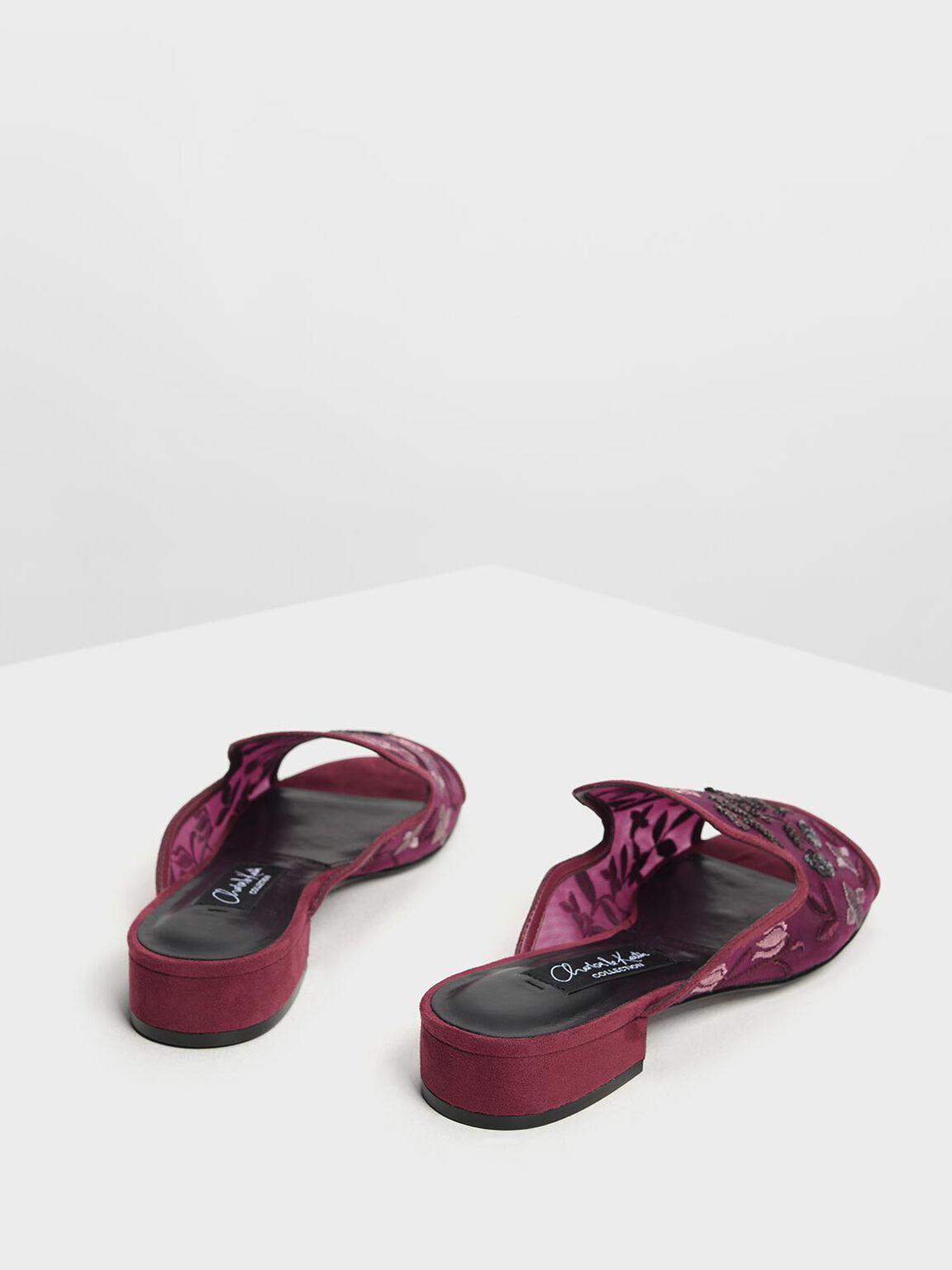 Mesh Embroidered Block Heel Slide Sandals, Prune, hi-res