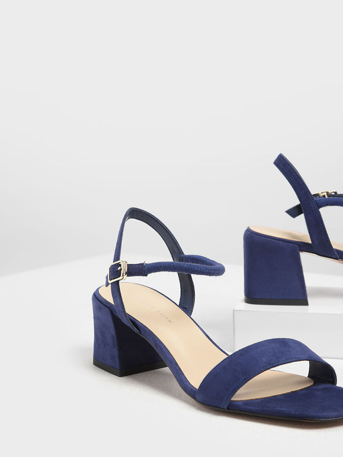 Open Toe Block Heel Sandals, Dark Blue, hi-res