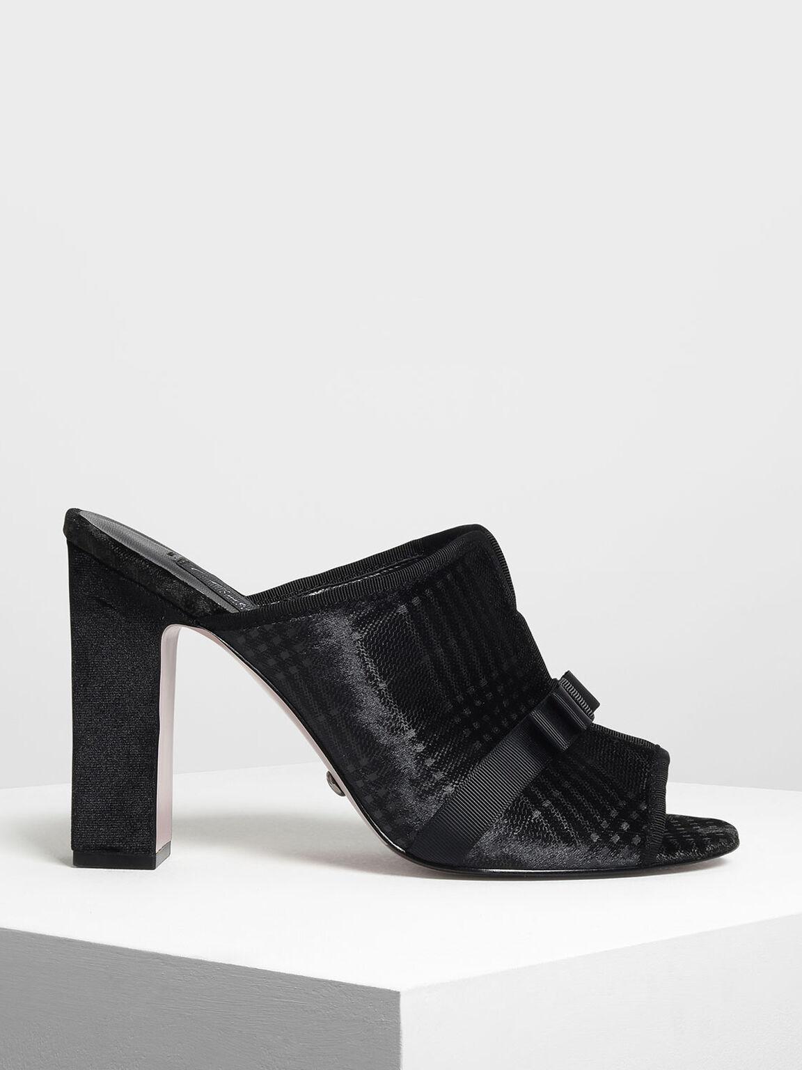 Bow Detail Velvet Mules, Black, hi-res
