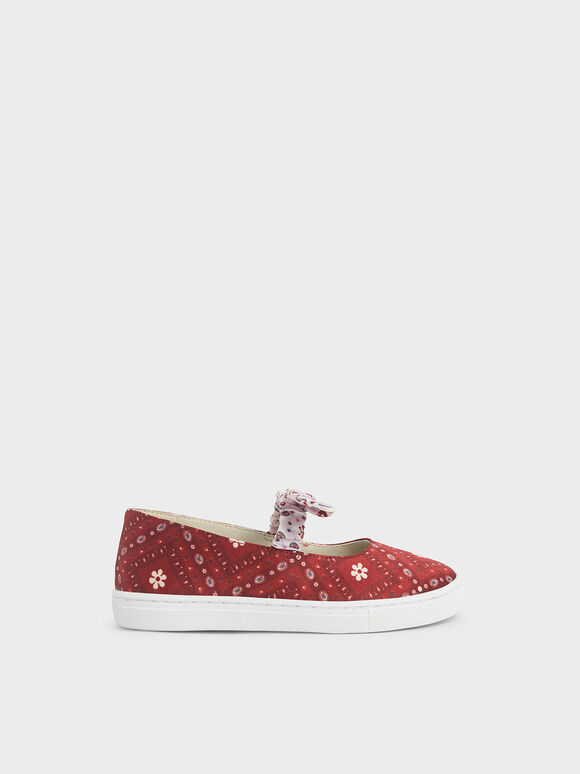 Summer 2020 Responsible Collection: Girls' Knotted Bandana Print Slip-On Sneakers, Red, hi-res