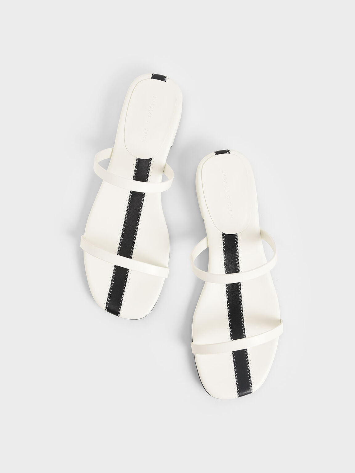 Striped Double Strap Slide Sandals, White, hi-res