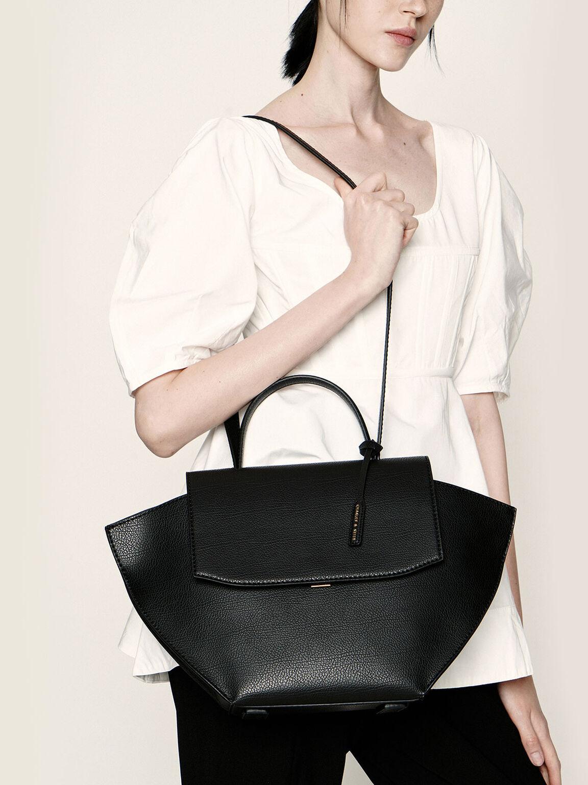 Large Trapeze Top Handle Bag, Black, hi-res