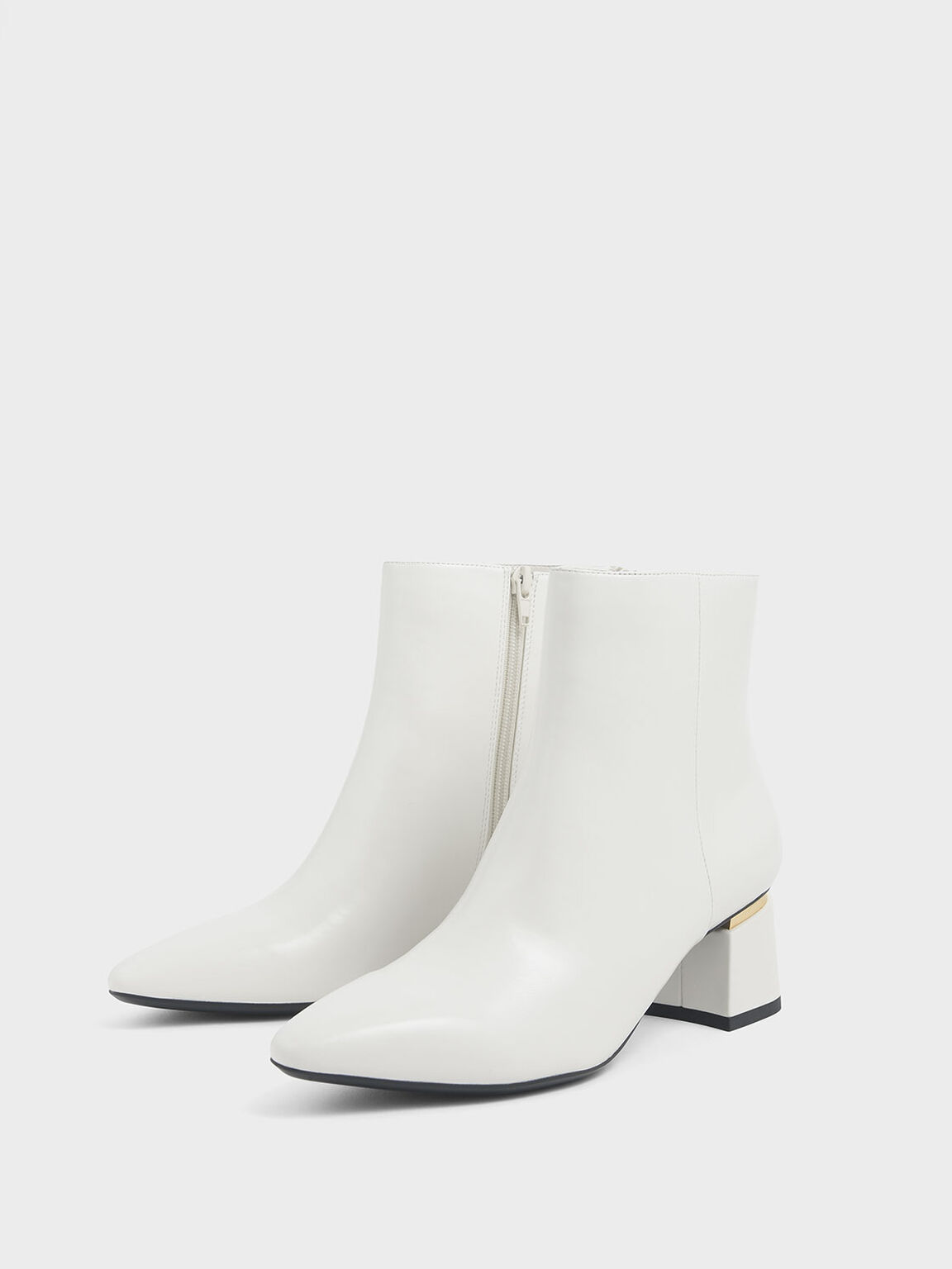 Metal Accent Block Heel Ankle Boots, Chalk, hi-res