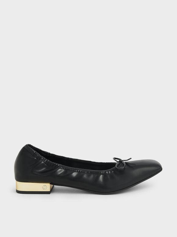 Bow-Tie Ruched Ballerina Pumps, Black, hi-res