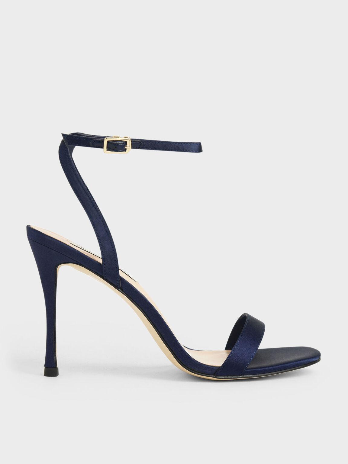 Satin Stiletto Heels, Dark Blue, hi-res