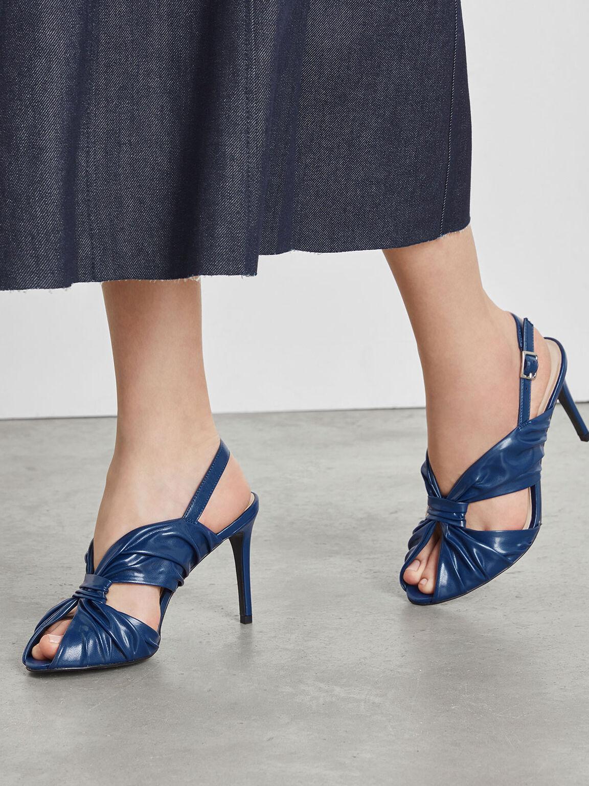 扭結繞踝細跟鞋, 深藍色, hi-res