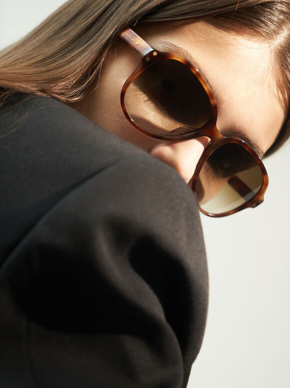 Tortoiseshell Acetate Aviator Sunglasses, T. Shell, hi-res