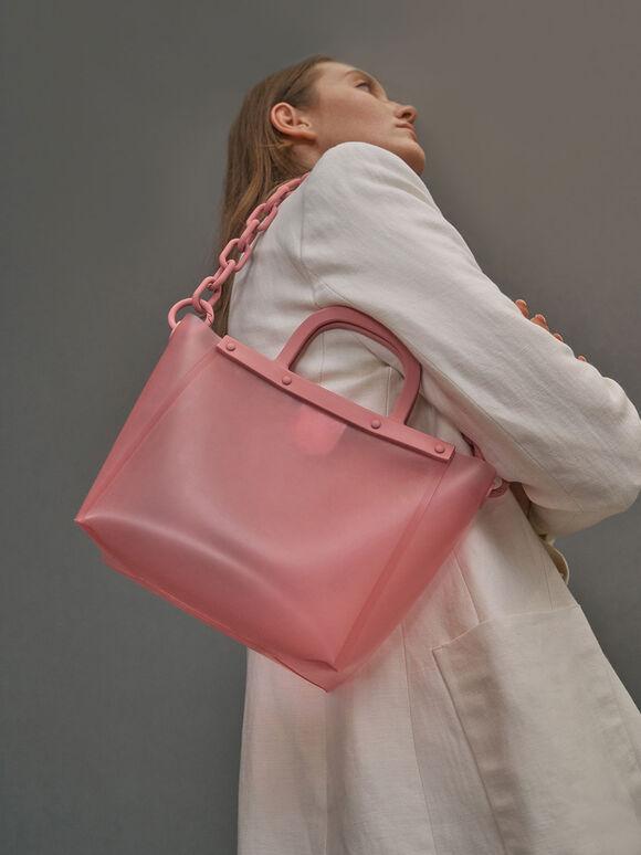 Large See-Through Tote Bag, Pink, hi-res
