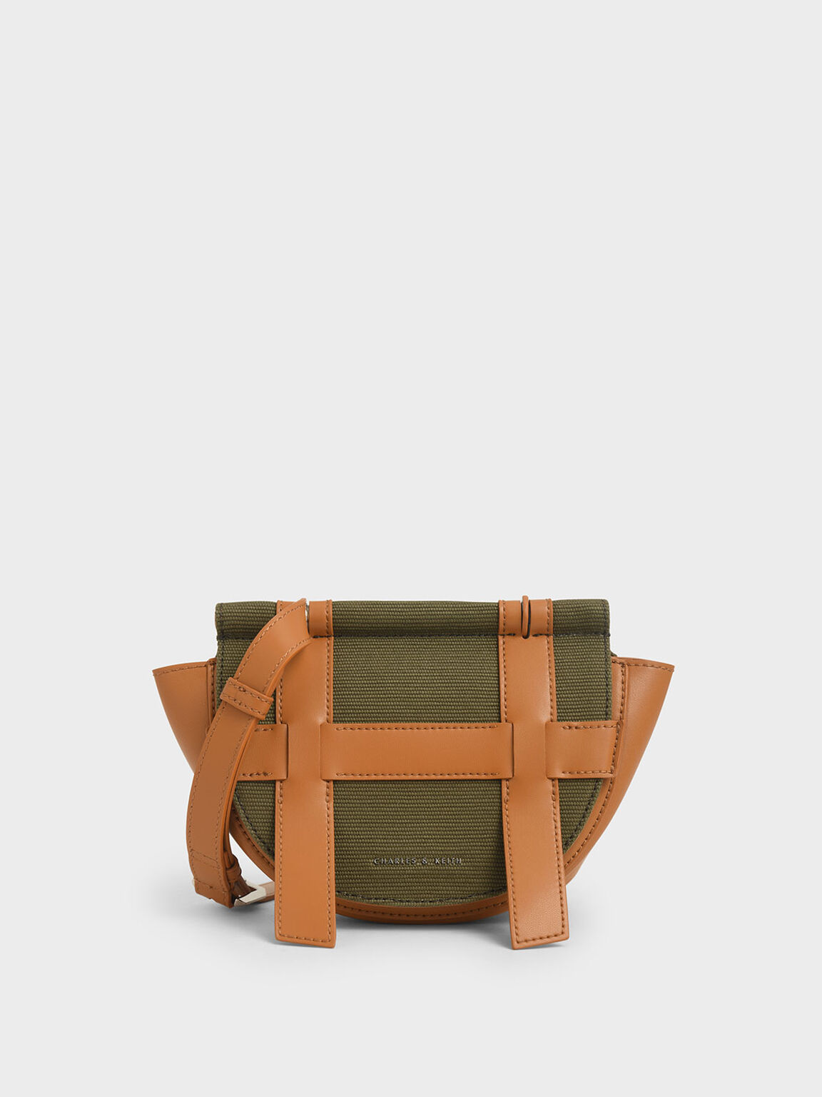 Small Caged Canvas Crossbody Bag, Olive, hi-res