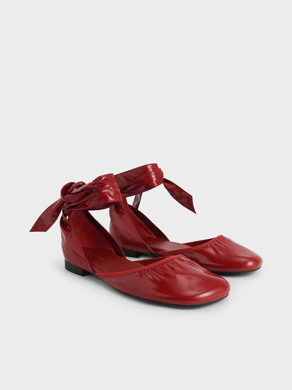 特別限定款:繫踝綁帶抓皺鞋, 紅色, hi-res