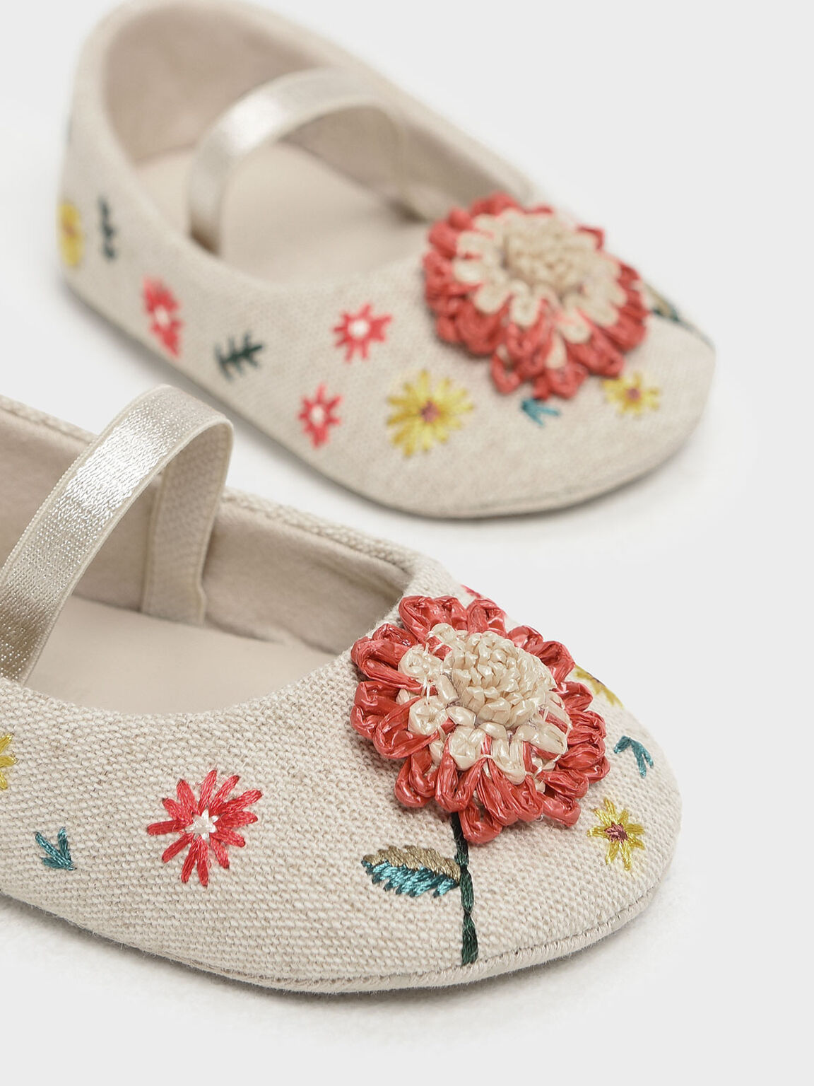 Baby Girls' Floral Embroidered Raffia Mary Janes, Taupe, hi-res