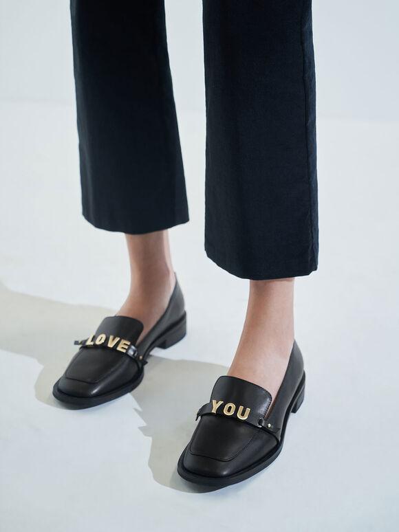 'Love You' Loafer Flats, Black, hi-res