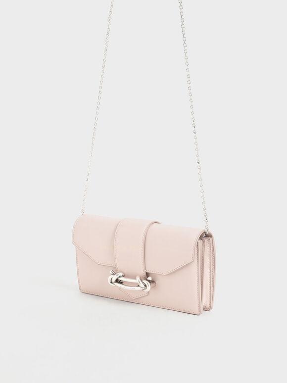 扭結釦長夾, 淺粉色, hi-res
