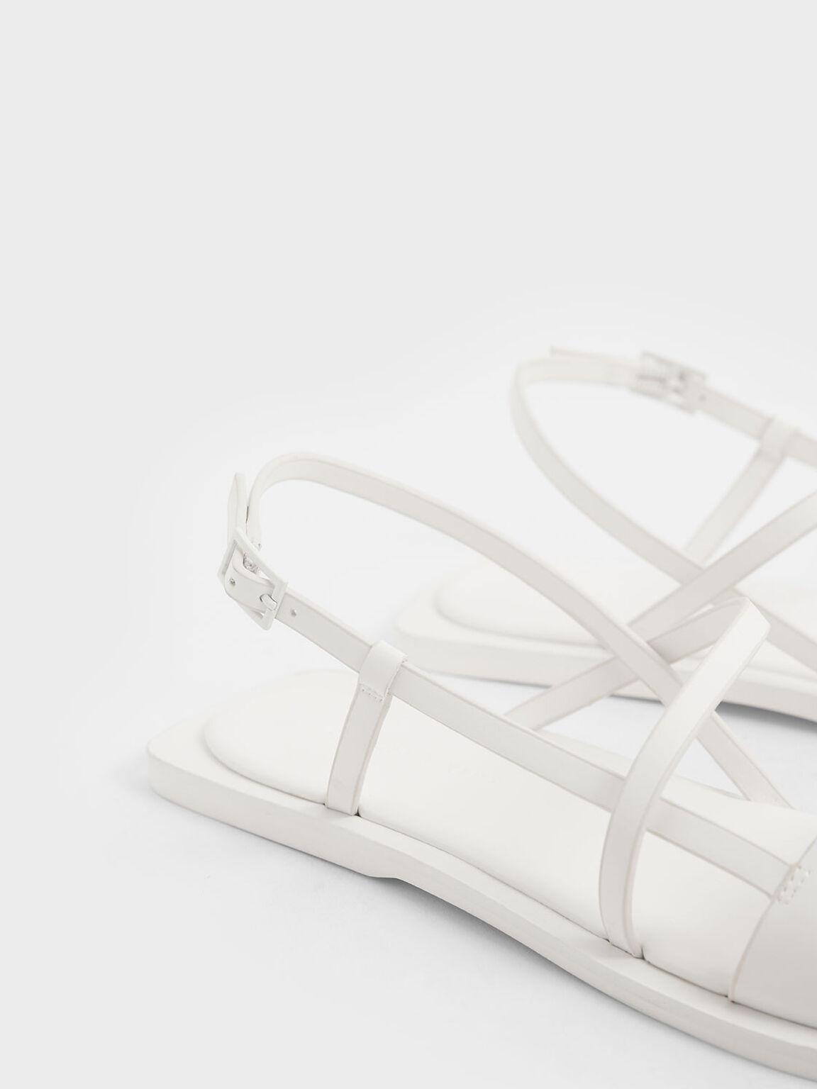 Asymmetric Strap Slingback Sandals, White, hi-res