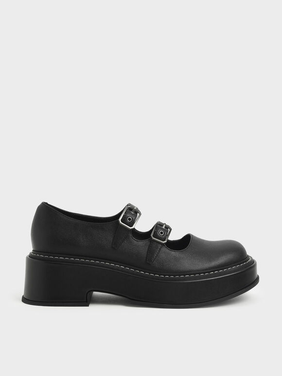 Frankie 厚底瑪莉珍鞋, 黑色, hi-res