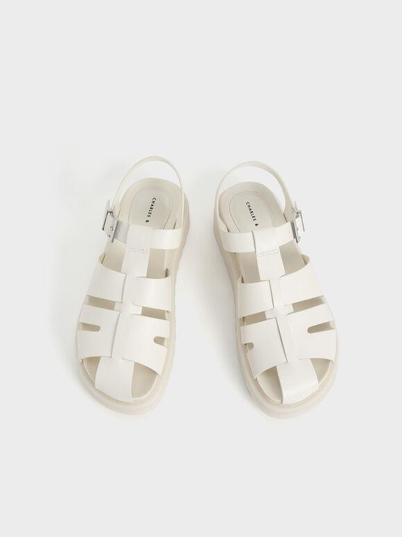懷舊厚底涼鞋, 石灰白, hi-res