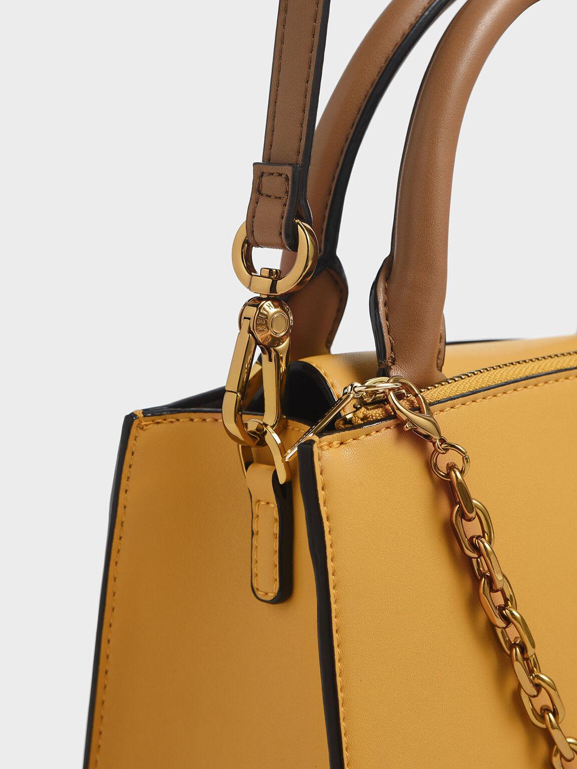 Chain Link Classic Handbag, Brown, hi-res