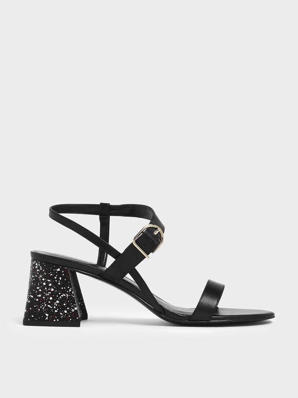 Terrazzo Print Flare Block Heel Sandals, Black, hi-res