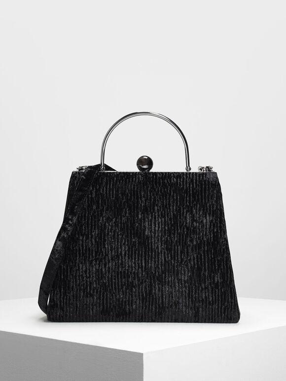 Orb Detail Push Lock Handbag, Black, hi-res