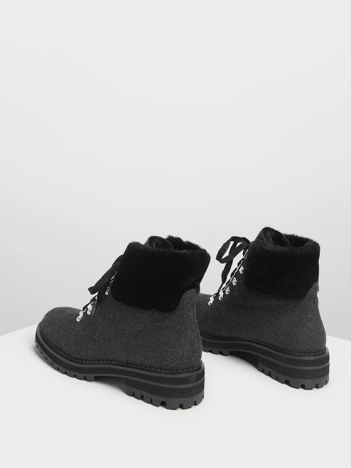 Speed Lacing Detail Hiking Boots, Dark Grey, hi-res