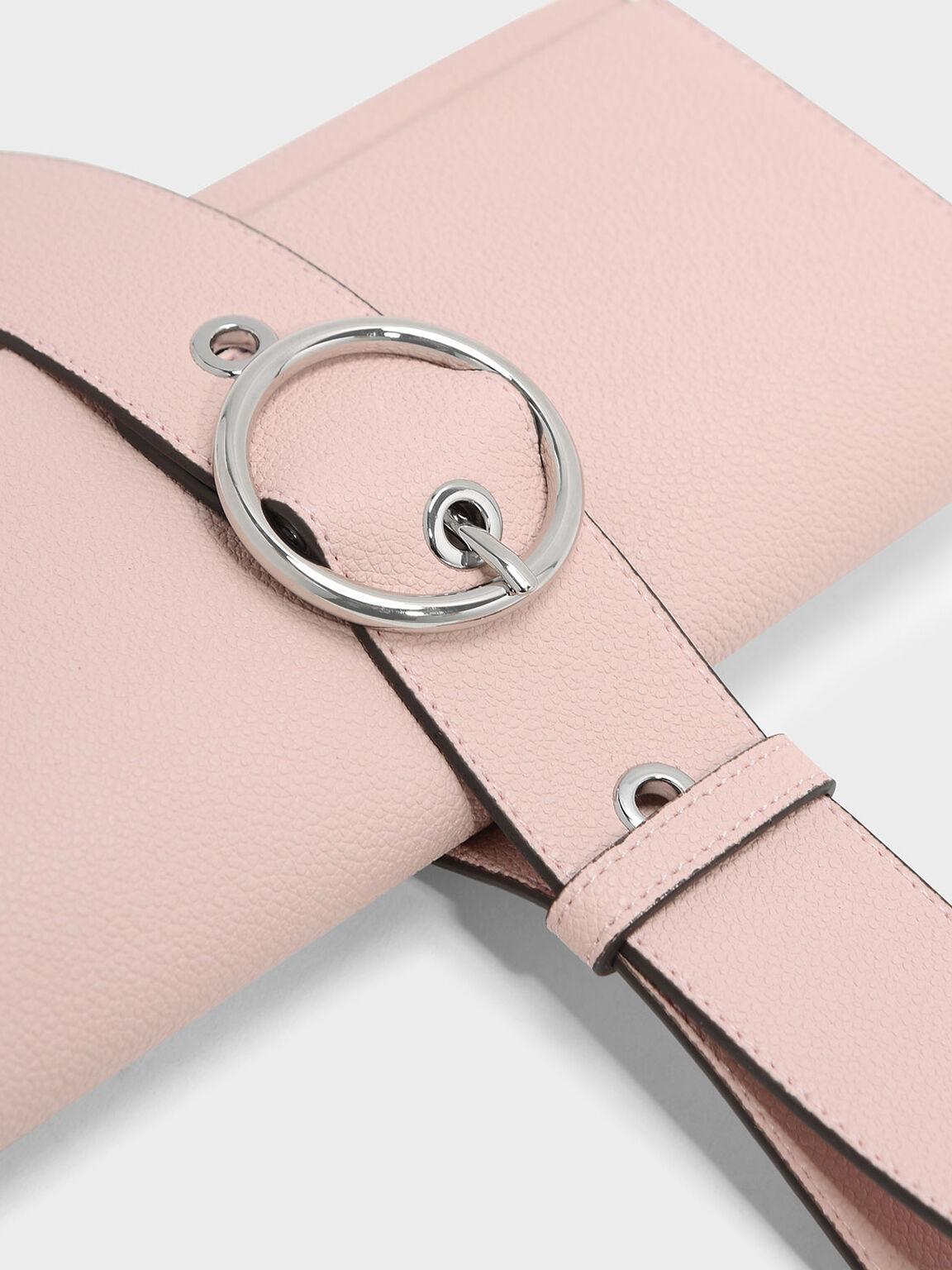 Buckle Detail Wristlet Strap Wallet, Blush, hi-res