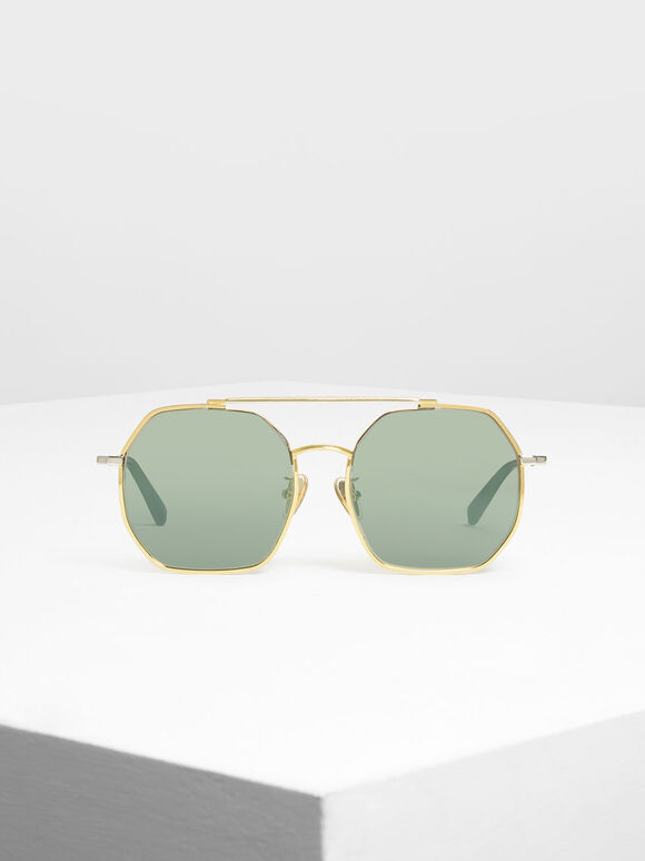 Geometrical Frame Sunglasses, Gold, hi-res